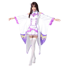 Re zero Cosplay Emilia Costume Dress Womens Lovely Animal for Halloween