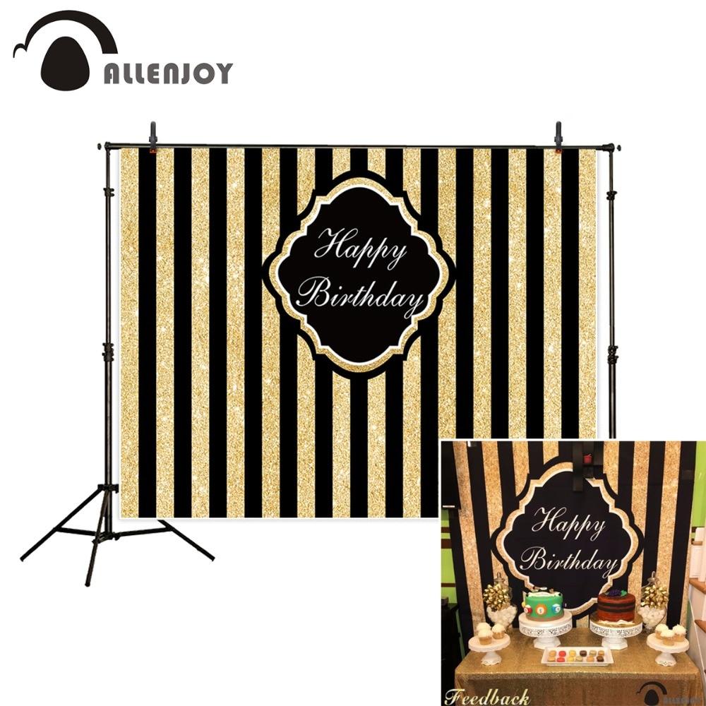 Allenjoy photocall narozeninové kulisy černé zlaté pruhy Vlastní textové fotografické pozadí pro fotografování fotografií