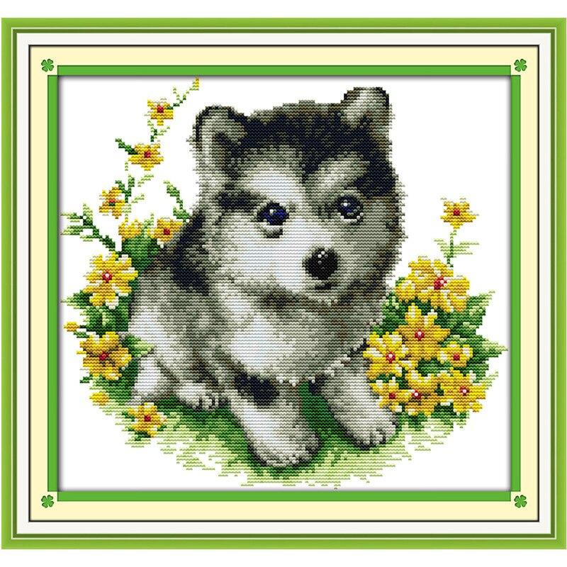 ✅Cross Stitch patrones pinturas Little Husky 11Ct Dmc contados ...