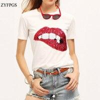 ZYFPGS 2018 Spring Summer Cartoon T Shirt Streetwear T Shirt Shein Lips New Fashion Shirt Crop