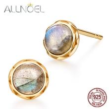 ALLNOEL Silver 925 Jewelry Stud Earrings Natural Labradorite Gemstone Designer For Women Luxury Wedding Brand Hot Sale