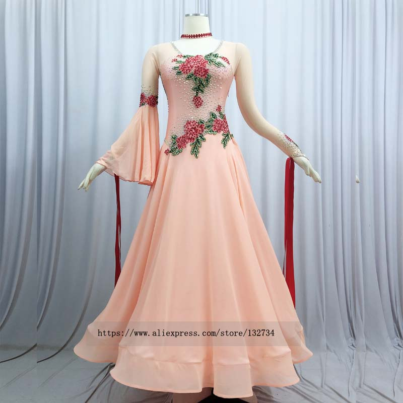 2019 long sleeve Ballroom Dance Competition Dress With bodysuit bra cups Stret Red motif Professional dance competition dressBallroom   -