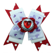Adogirl 10pcs Valentines Day Hair Bows Crystal Loveheart Handmade Ribbon Boutique Accessories with Clips Hairgrips Gifts