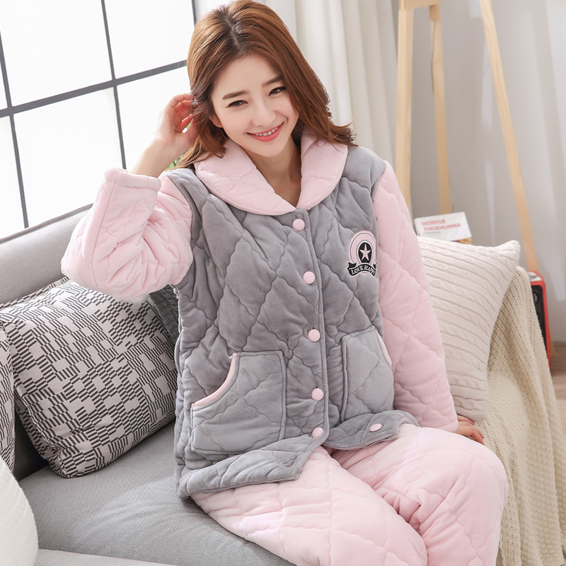 New Winter Thick Warm Women Flannel Pajamas Set Letter Pattern Comfortable Soft Cardigan Leisure Ladies Pajama Plus Size M-XXXL