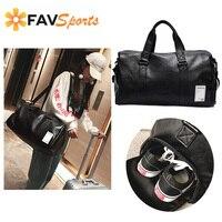 PU Leather Men Women Gym Bag Sports Training Handbag Yoga Bag Outdoor Travel Shoulder Bag gymtas Black