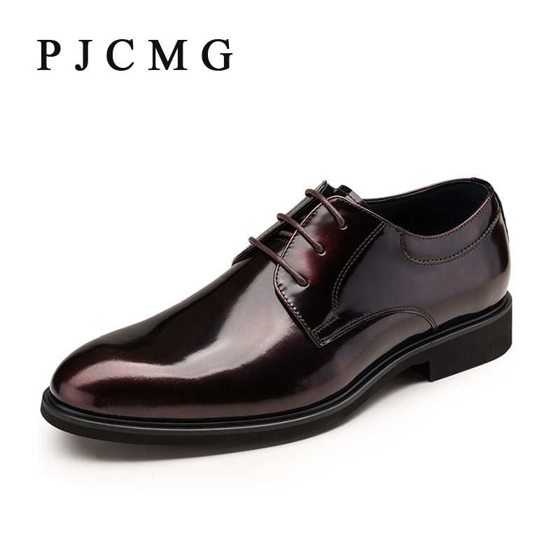PJCMG Brand Fashion Genuine Leather Flats Lace-Up Men Dress Shoes Luxury Men's Business Casual Shoes Classic Gentleman Shoes