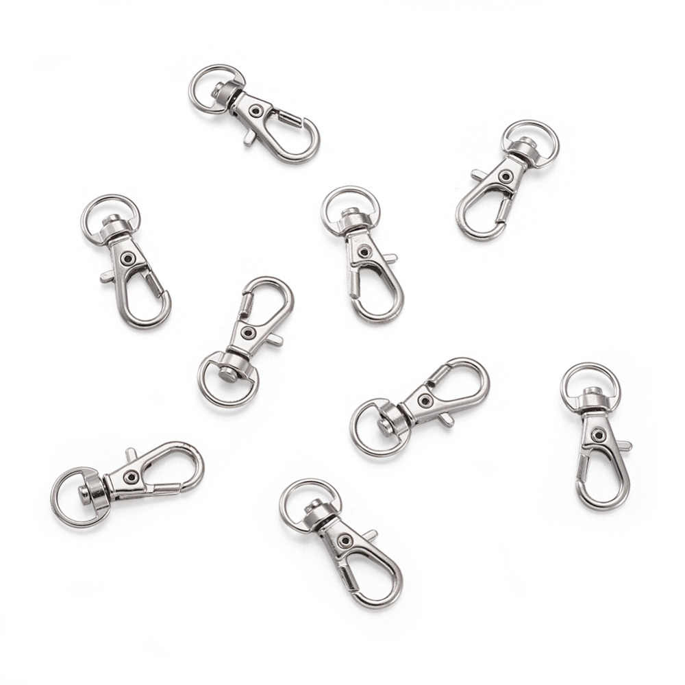 for Lanyard Key Rings Crafting Supplies Hole: 5x9mm Platinum 30.5x11x6mm E548Y 10 x Alloy Swivel Clasps Lanyard Snap Hook
