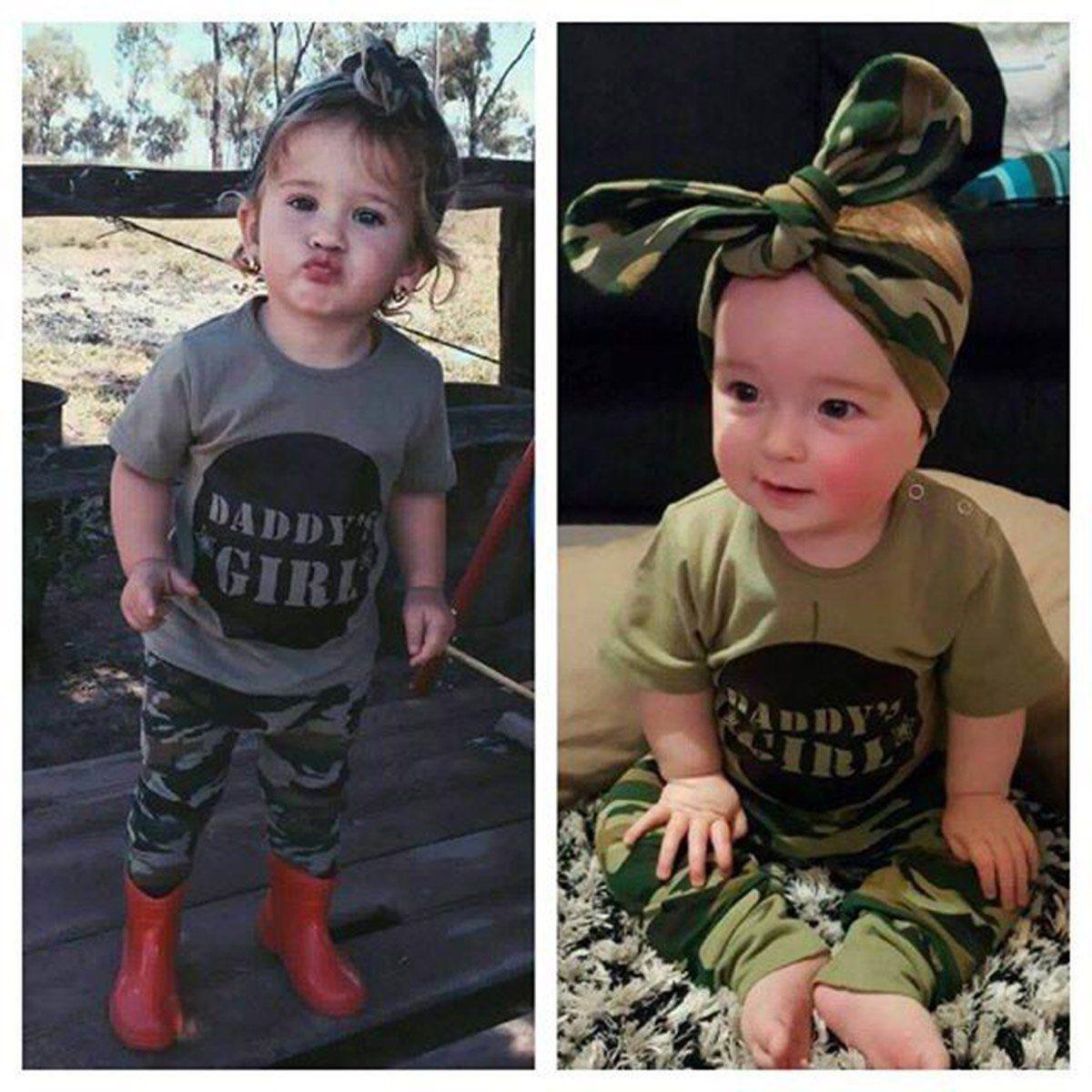 Toddler Kids Chłopcy Dziewczęta Topy Camo T-shirt Spodnie Letnie - Ubrania dziecięce - Zdjęcie 2