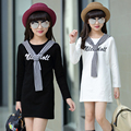Preppy Girls Dress Infants Long Sleeve Casual Vestidos Students Classical Dress Children Clothing Girls Daily Clothes Navy Dress