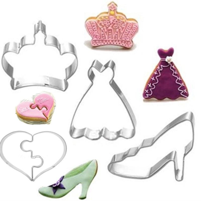 4 PCS Crown Skirt Zapatos de tacón alto Heart Cookie Cutter Set - Cocina, comedor y bar