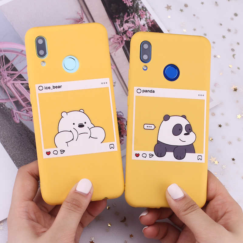 Voor Huawei Honor Mate 10 20 Nova P20 P30 P Smart Beren Cartoon Leuke Instagram beelden Candy Silicone Telefoon Case capa Fundas Coque