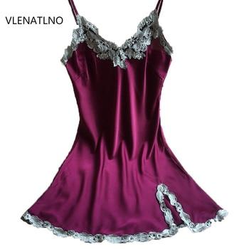 ae819e671f3 Ladies Sexy Silk Satin Night Dress Sleeveless Nighties V-neck Nightgown  Nightdress Lace Sleepwear Nightwear For Women