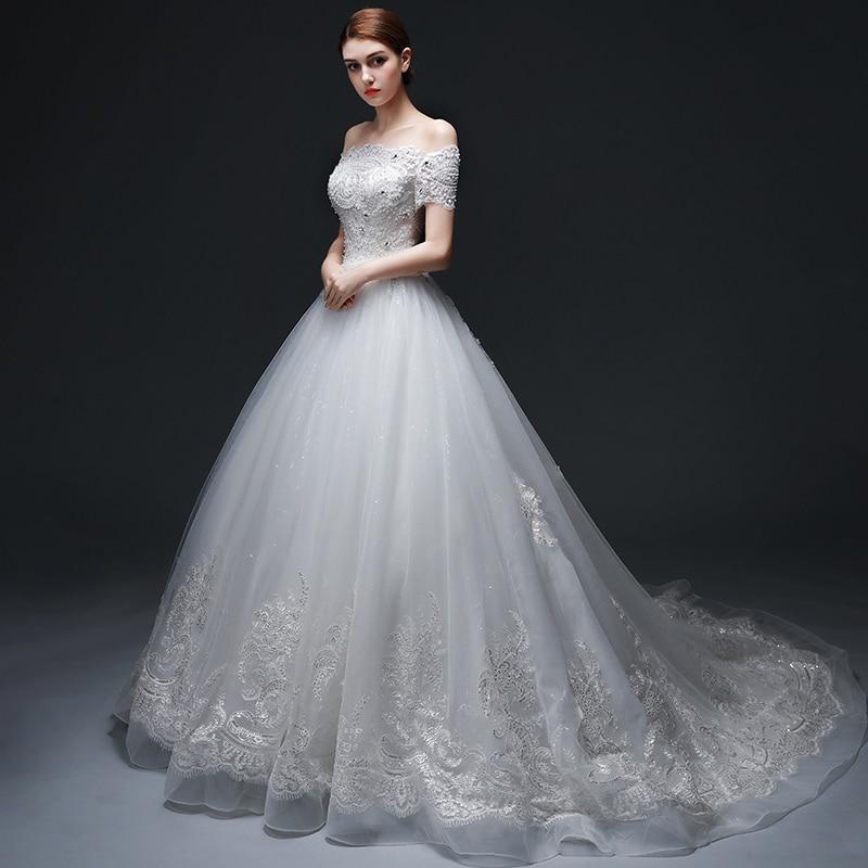 Vestido de Noiva Off-the-ώμου μπάλα φόρεμα - Γαμήλια φορέματα - Φωτογραφία 4
