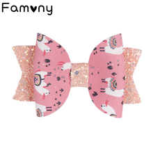 2 Pcs/lot 3 Cute Leather Printed Hairclips Glitter Swallowtail Bow Boutique Handmade Hairpins For Baby Hair Accessories