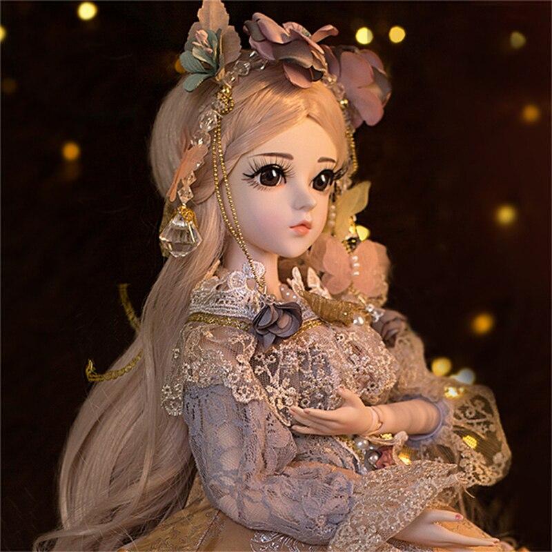 BJD 60CM elegancki lalki 1/3 brązowe oczy z ubrania piękno ręcznie zabawki silikonowe odrodził lalki zabawki prezent dla dzieci w Lalki od Zabawki i hobby na  Grupa 3