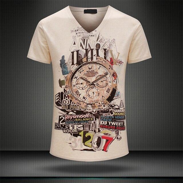 Asian size, not US/EU Fashion 3D printed mens t-shirt specific style printed short sleeve summer t shirt mens  V-neck shirt