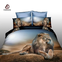 Parkshin 3D Bedding Set Pattern Lion Animal Bedspread Bed Cover Double Flat Sheets Linens Duvet Cover Queen King Size Bedclothes