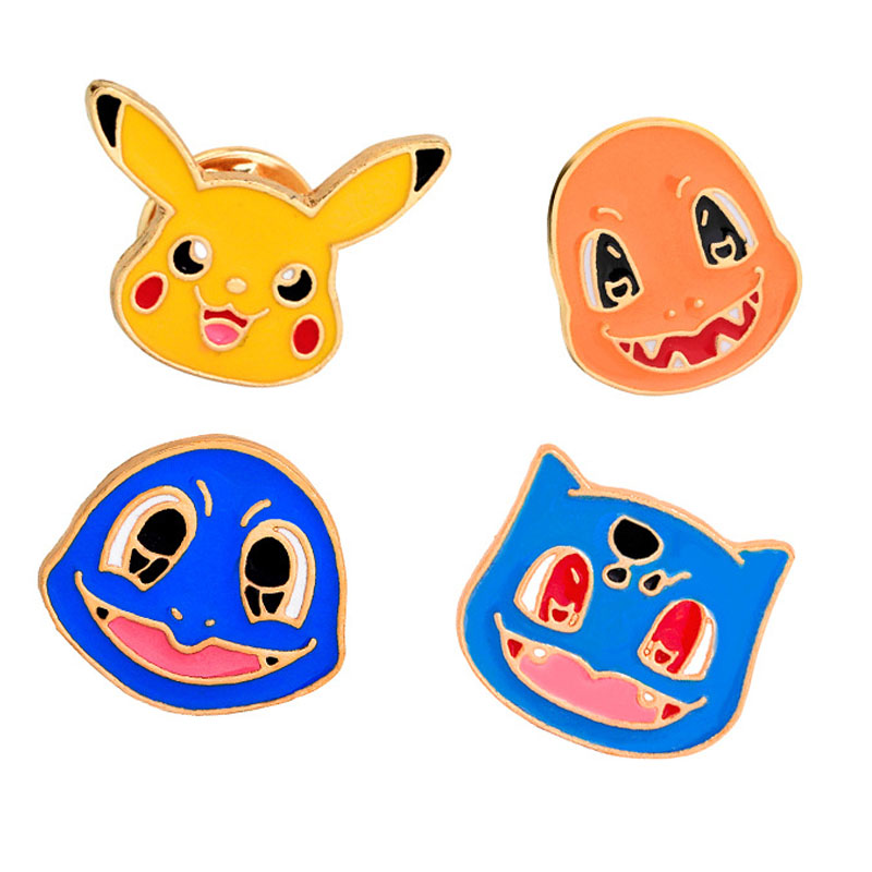 4 Style Animation Cartoon Brooches Games Pikachu Wizard Image Badge Brooch Men And Women Enamel Pins