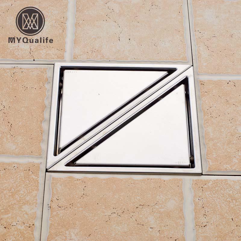 Tile Insert Triangle Floor Waste Grates Drain Bathroom Shower Drain Stainless Steel Floor Drain