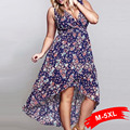 Más el tamaño asimétrico de gasa mujeres vestidos 4xl 5xl floral print dress sexy irregular de cola de milano maxi dress v-neck beach long dress