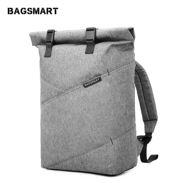 Mochila para ordenador portátil BAGSMART Weekender viaje negocios multiusos rollo Top moda mochila se adapta a portátiles de 15,6 pulgadas
