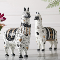 Nordic Mosaic Alpaca Statue Resin Decoration Moder Simple Statue Home Decoration Accessorie Animal Statue Resin Abstract Statue