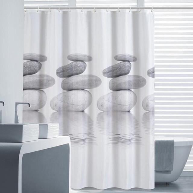 European Style Grey Goose Soft Stone Shower Curtain Waterproof Fabric Bathroom With 12 Hooks
