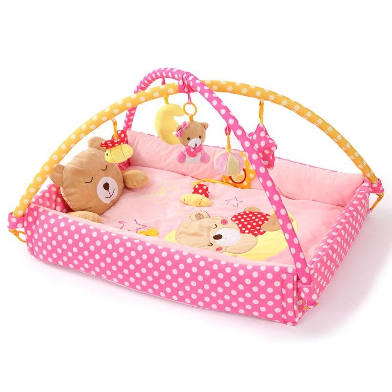 цена на 2017 New 0-12 month Educational Baby Soft Play Mat Cartoon moon bears Design Toys Cotton Crawling Game Play Gym Blanket Carpet