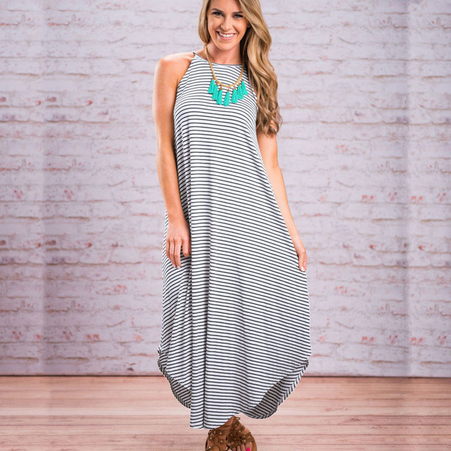 129864c9a5ca5 Summer Pregnant Women's Striped Long Dress Sleeveless Loose Maxi Dress  Casual Pregnancy Beach Clothing Brief Maternity Clothes