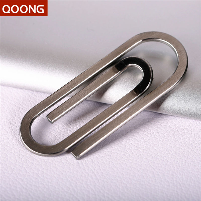 QOONG Stainless Steel Silver Slim Pocket Money Clip Wallet Cash ID Credit Card Money Holder Metal Steel Bill Clip Clamp QZ40-001