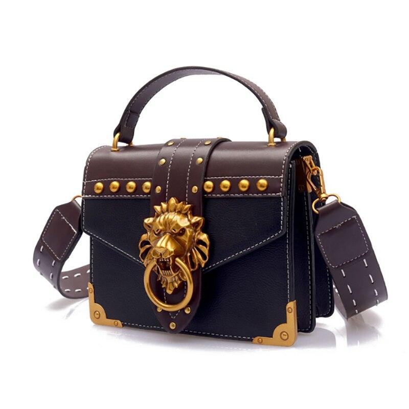 55bcf516c221 Fashion Metal Lion Head Mini Small Square Pack Shoulder Bag Crossbody  Package Clutch Women Designer Wallet