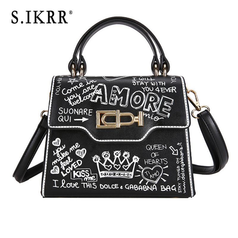 S.IKRR Fashion Crossbody Bags For Women Leather Handbags Luxury Designer Graffiti Shoulder Bag
