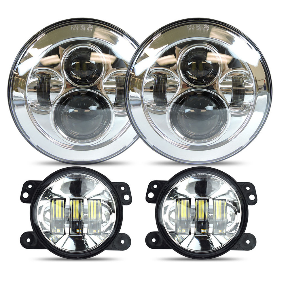 7 Daymaker LED Headlights For Jeep Wrangler Unlimited JK JKU TJ LJ Rubicon Sahara + 4 Fog Lights Driving Front Bumper Lights auxmart 22 led light bar 3 row 324w for jeep wrangler jk unlimited jku 07 17 straight 5d 400w led light bar mount brackets