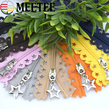 Meetee 10pcs 3# Close-end Nylon Zipper Star Lace Tape 25cm Multi-color  Garment Diy Sewing Bag Purse s A1-3