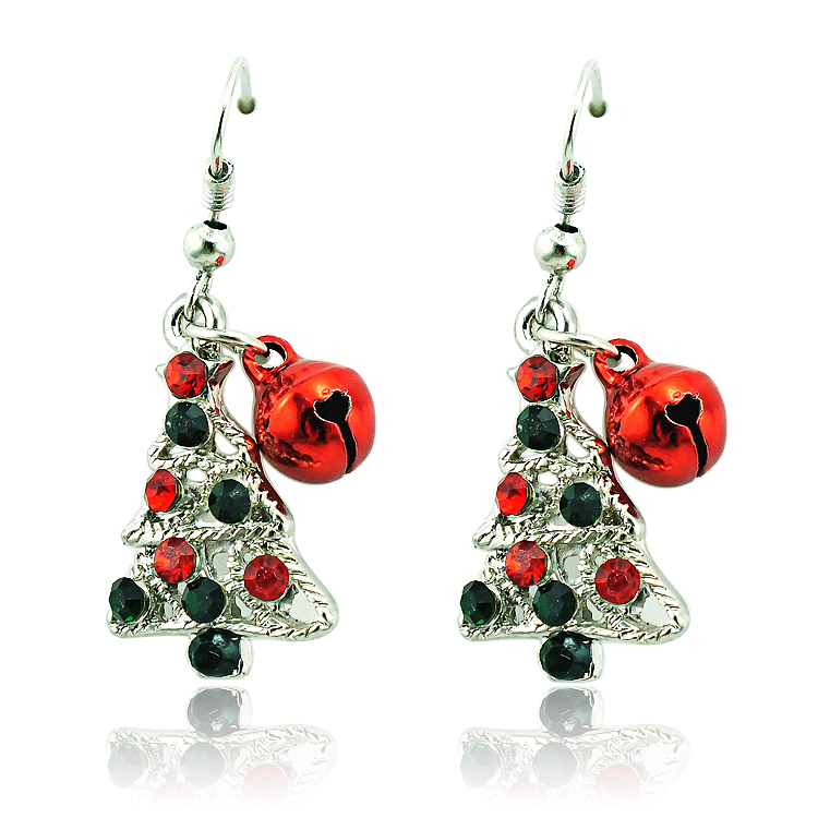 JINGLANG Fashion Dangle Earring Multi Color Rhinestone Christmas ...