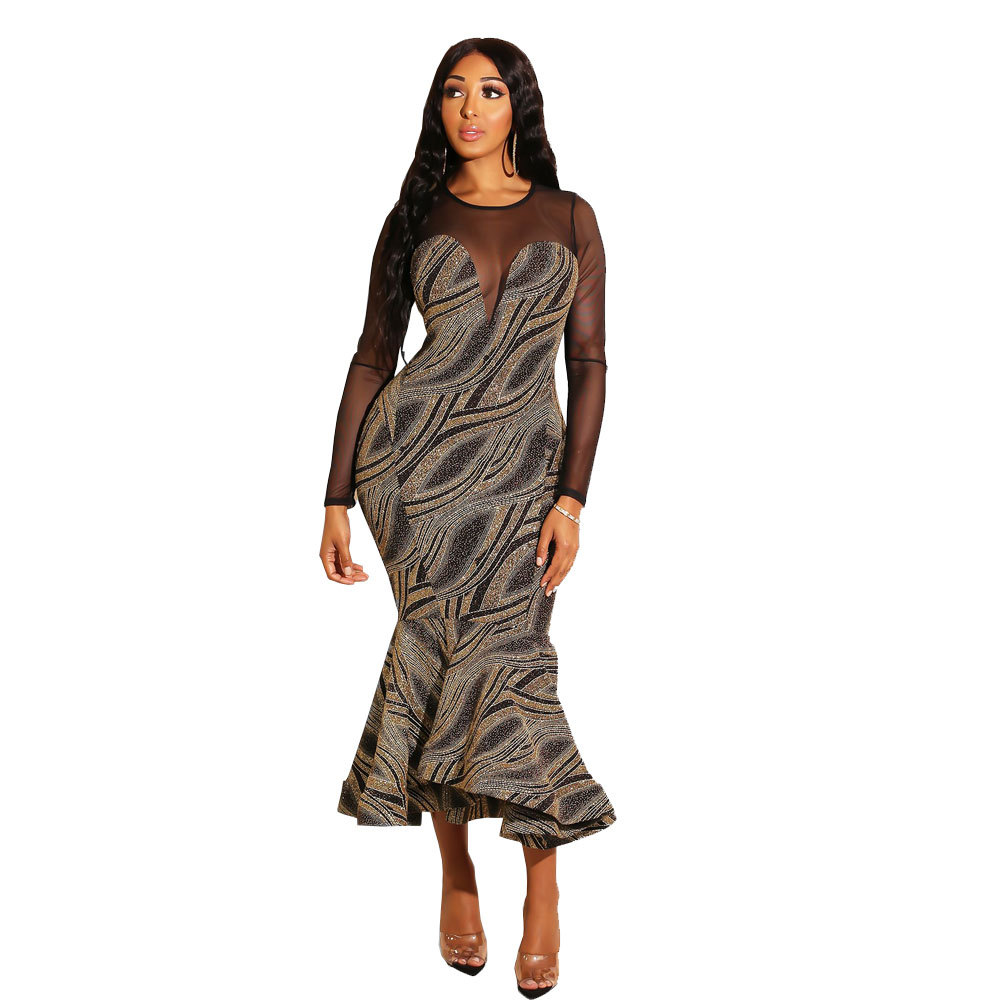 Fashion New Spring Women Print Dress O Neck Mesh Long Sleeve Mermaid Dress Elegant Vestidos 2385