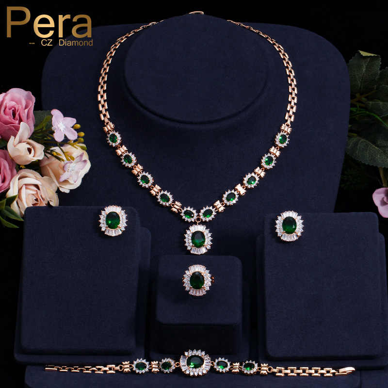 Pera 4 Piece Set Big Cubic Zirconia Fashion Women Gold Color Round Green Stone African Dubai Wedding Party Jewelry Sets J087