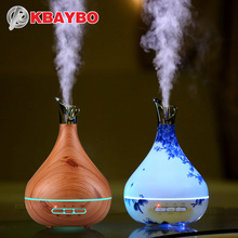 KBAYBO 300ml Aroma Essential Oil Diffuser Ultrasonic Air Humidifier purifier with Wood Grain LED Lights for Office Home Bedroom