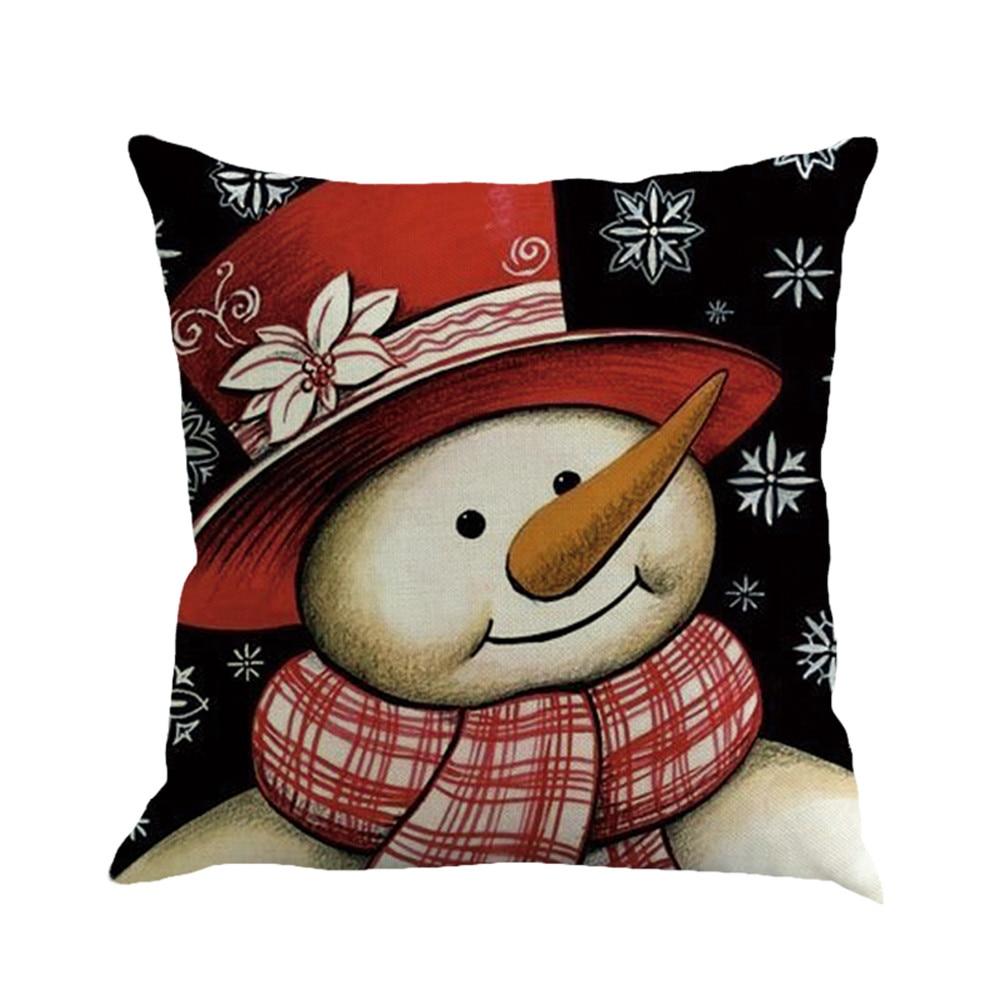 Romantic New Years Gifts Christmas Santa Claus Pillow Cover Home Decorative Throw Pillow Case Snowman Cushion Sofa Seat Decor