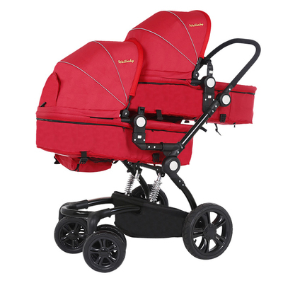 High Quality Fashion Twins Baby Stroller High Landscape Foldable Twin Baby Car Shockproof Pram Twins Soft Twins Stroller C01