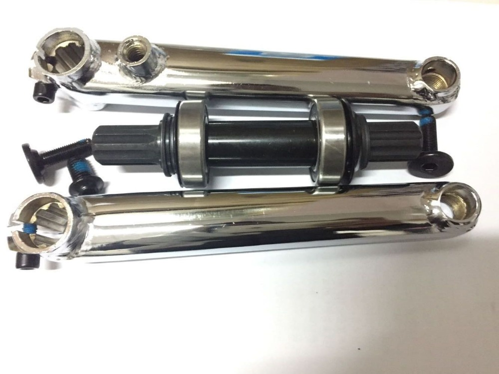 Taiwan 8 spline 175 mm anode finished bb bmx bike crank chain wheel set