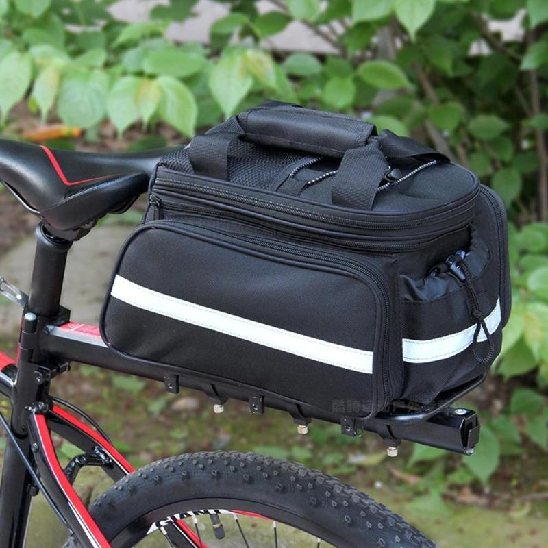 Bicycle Rear Seat Bag Large Capacity <font><b>Bike</b></font> <font><b>Carrier</b></font> Rack Seat Trunk Bag with Rain Cover Rain-proof Bicicleta <font><b>accessories</b></font> image