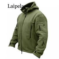 Laipelar Military Man Fleece Tactical Softshell Jacket Thermal Polar Hooded Outerwear Coat Army Clothes