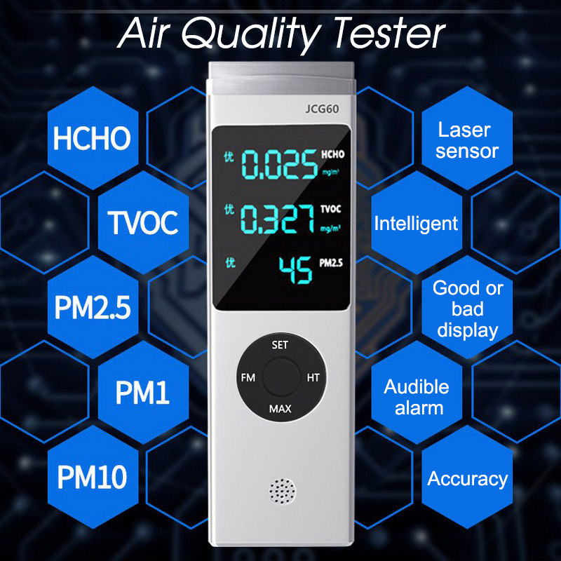 Formaldehyde HCHO Meter PM1.0 PM2.5 PM10 TVOC Gas Detector with Alarm Air Quality Monitor Gas Analyzer Gas Leak Detector free shipping jsm 131s formaldehyde home gas leak detector