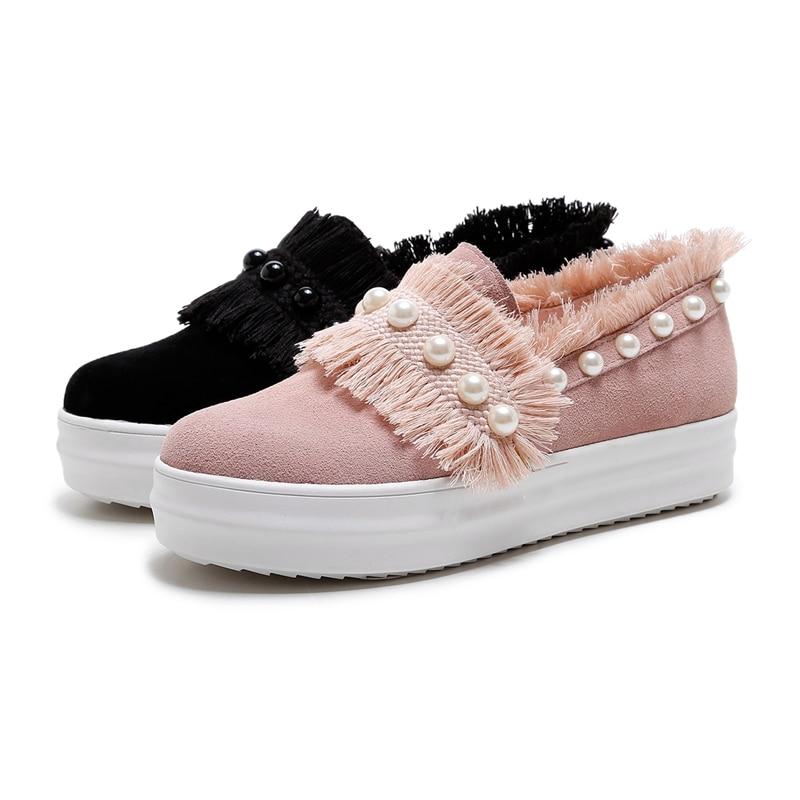 Casual Marca Fringe Karinluna Perlas De Rosa rosado Niñas Mujer Suede Negro Calzado Nuevas Negro Cuero Zapatos qzwHU
