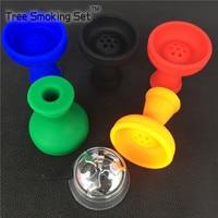 1 adet Metal Karbon Bariyer Gümüş Çift Kolu + 1 adet Yedi Delik Silikon Sigara Kase Fumo Narguile Tütün Sigara tüpler