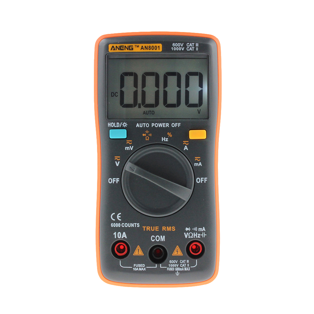 New ANENG AN8001 Orange Digital Multimeter 6000 Counts Backlight AC/DC Ammeter Voltmeter Ohm Portable Meter T10 professional and practical an8001 digital multimeter 6000 counts backlight ac dc ammeter voltmeter ohm portable meter