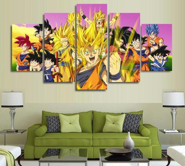 acheter 5 panneaux mur art dragon ball z goku super saiyan peintures art toile. Black Bedroom Furniture Sets. Home Design Ideas