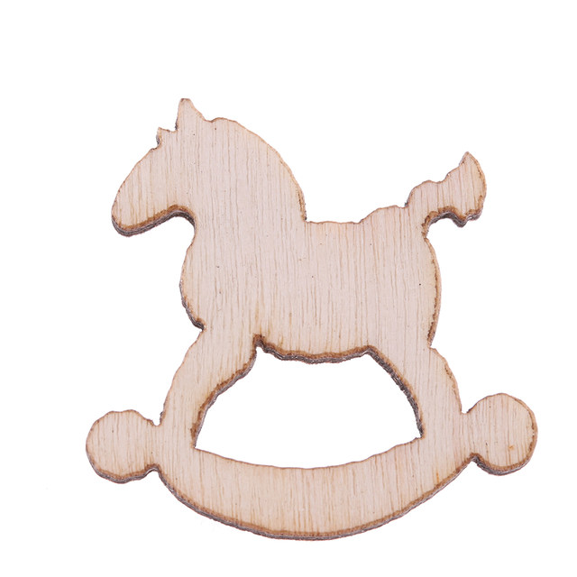 30pcslot 5 designs 20mm natural wood christmas ornaments reindeer tree snow flakes rocking horse christmas home decoration - Horse Christmas Ornaments