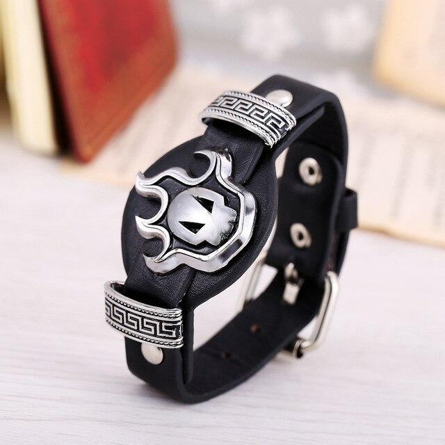 Hot Anime Bleach Bracelets WristBand Black Weave Leather/Silver Alloy Bracelet & Bangle for Men Cosplay Fashion